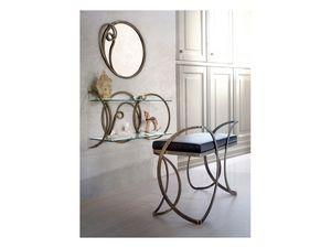 Banc Azzurra, Banc en métal avec siège rembourré, pour les villas classiques