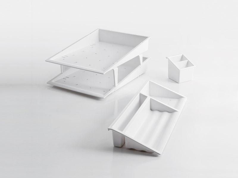 Desk up white, Accessoires de bureau en polymère