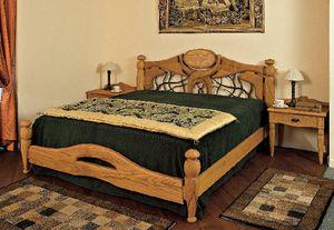 Collezione Castello, Ameublement complet pour chambre d'hôtel, de style rustique, châtaignier bois massif