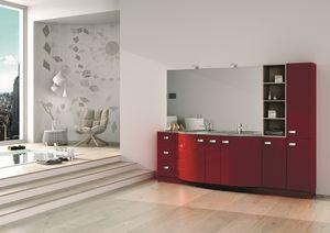 Round AM 122, Meubles pour salle de bains, avec armoires, tiroirs et miroir