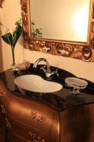 Art. 3110, Meuble de salle de bains en bois massif, plateau en verre