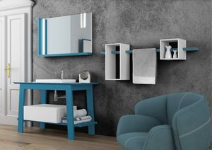 Bath Table 06, Mobilier de salle de bain laqué bleu mat