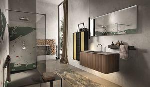 Chrono 306, Meubles de salle de bains avec colonne en aluminium et en verre