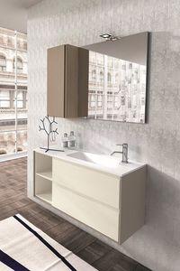 Cloe 33, Meubles de salle de bains en chêne avec miroir et armoire murale