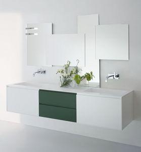 Cocò 02, Meuble sous-évier moderne, avec des tiroirs, dans des couleurs blanches et vertes