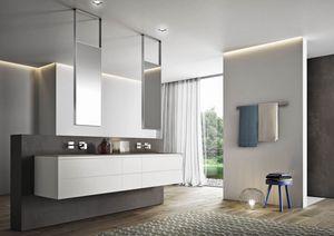 Cubik comp.01, Meubles de salle de bain avec miroirs suspendus au plafond