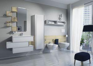 Domino 02, Meubles de salle de bain avec lavabo, WC et bidet