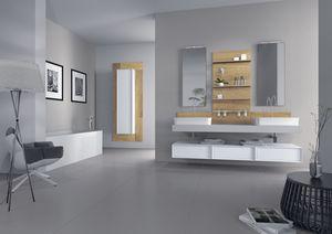 Domino 03, Meubles pour salle de bain avec deux lavabos, la finition du béton