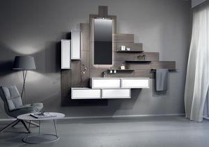 Domino 04, Meubles de salle de bains avec des modules de panneaux de bois et de conteneurs