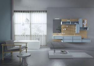 Domino 06, Meubles pour salle de bains, avec boiseries en chêne