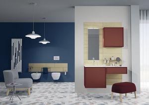 Domino 07, Meubles de salle de bains, aux couleurs vives, avec miroir