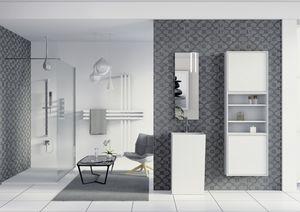Domino 08, Meubles de salle de bains, miroir et une armoire avec des étagères