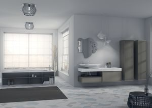 Domino 11, Meubles de salle de bains, avec miroir original et évier