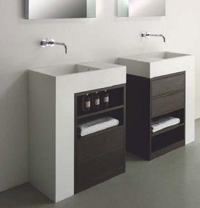Elle comp.1, Meubles de salle de bains en Corian et en bois, avec des tiroirs
