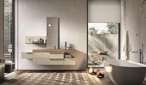 Giunone 354, Composition de meubles pour salle de bain en ciment perle mélamine
