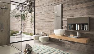 Giunone 377, Salle de bains consolle en chêne avec armoire murale et miroir