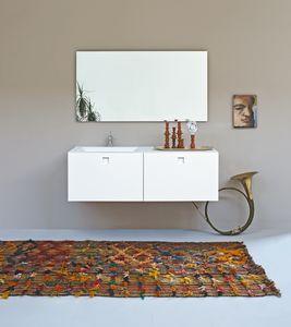 Kube 02, Salle de bain minimaliste, avec évier intégré, couleur blanche