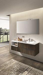 Kyros 114, Cabinet pour lavabo avec tiroirs, en bois laqué
