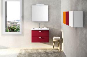 Lime Ø comp.25, Armoire de toilette rouge, avec lavabo en céramique