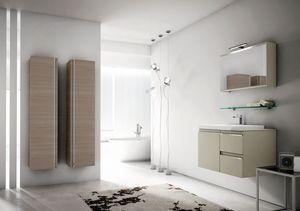 Mistral comp.07, Meubles de salle de bain avec de grands récipients suspendus