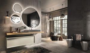 Regolo 324, Armoire de toilette en bois, avec évier en acier
