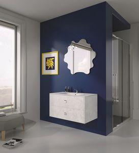 Singoli S 12, Compositiion pour salle de bains moderne, poignées chromées
