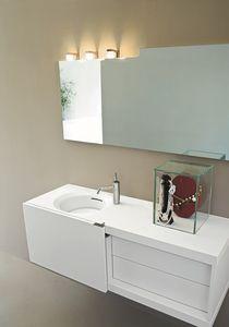 Slide 04, Meubles de salle de bains Compact, avec porte coulissante, couleur blanche
