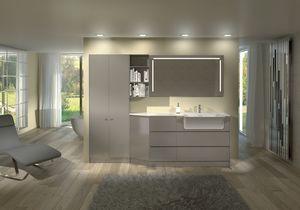 Torana TR 013, Mobilier laqué brillant pour salle de bains, modulaire