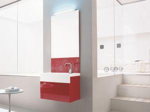 Trenta5 02, Armoire de toilette lavabo rouge brillant, avec miroir décoré