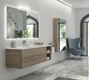Yumi 02, Armoire de toilette avec Pembroke finition gris, top blanc mat