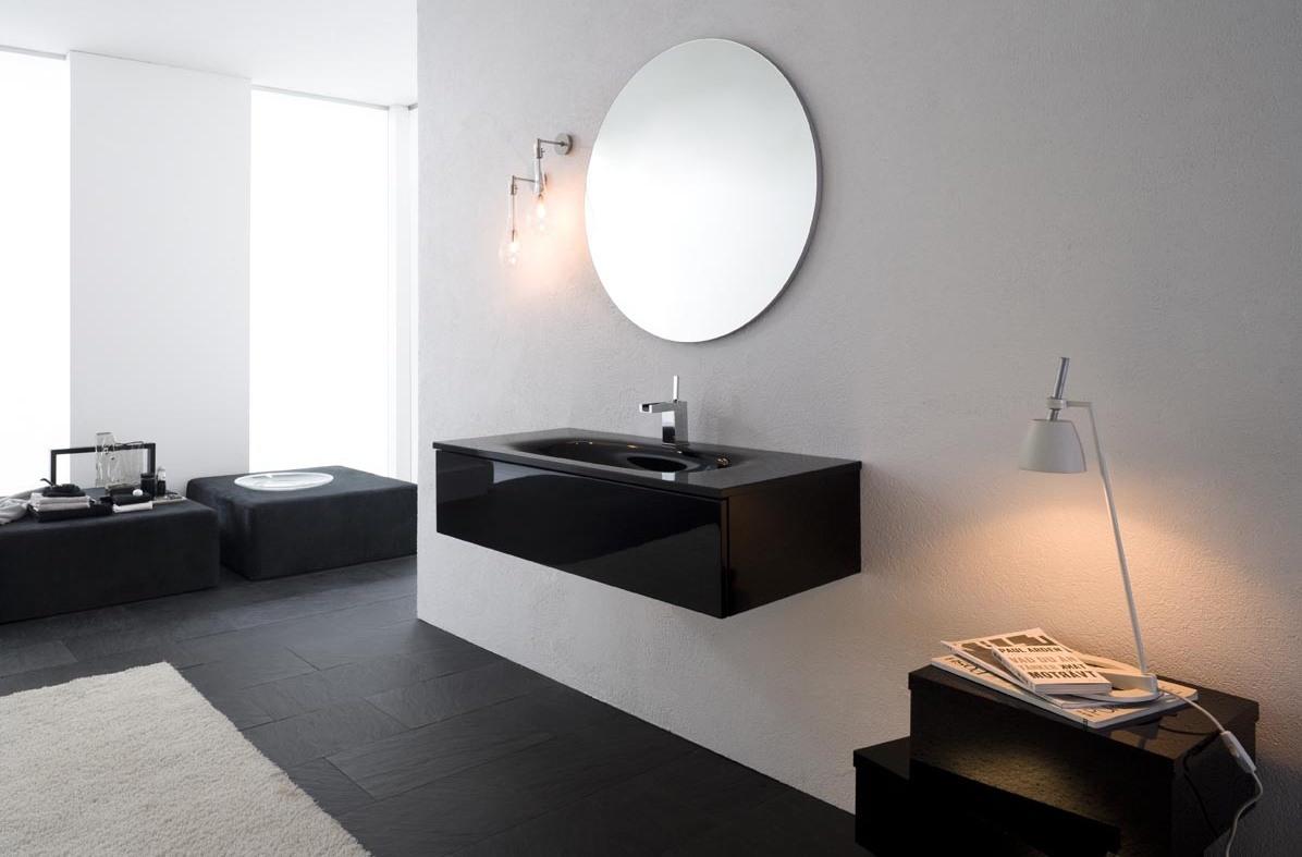 Armoire De Toilette Avec Lavabo En Verre Finition Noire Brillante