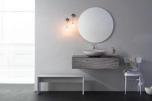 Yumi 05, Tiroirs Salle de bains, Zebrano finition blanche, avec lavabo ovale