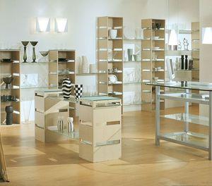 Aury 21/RE, Exposant étagères moderne, verre, pour magasins et boutiques