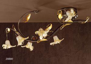 Art. 29880 Jolie, Plafonnier classique en verre et laiton