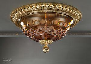 Art. CRISTAL 151, Plafonnier avec bol en cristal ambre