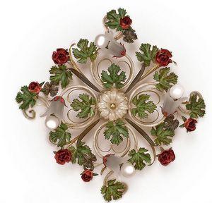 PL.5255/4, Plafonnier à 4 lumières, avec feuilles et roses