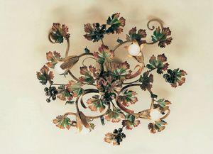 PL.5790/4, Plafonnier en fer forgé, décorations d'automne