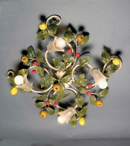 PL.7420/4, Plafonnier avec feuilles décoratives et fruits