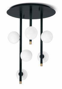Pomì, Plafonnier avec des sphères de verre blanc