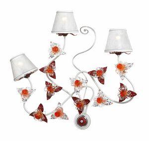 Rose AP/3, Applique avec décorations en verre de Murano