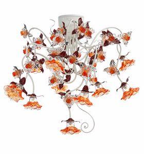 Rose PL/10, Plafonnier avec décorations en verre