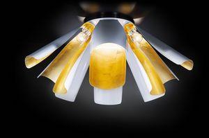 TROPIC Ø 100, Plafonnier en feuille d'or