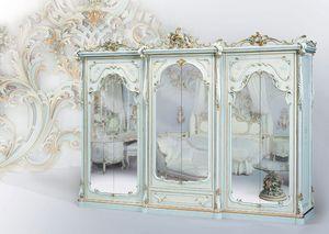 508, Armoire classique laqué blanc, avec miroir
