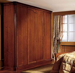 Alice armoire porte en bois, Armoire avec 4 portes, placage de noyer, style classique