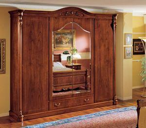 Althea armoire, Armoire classique en noyer avec 4 portes pour chambre