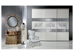 AR14 Novecento laqué armoire, Armoire classique laqué blanc avec feuille d'argent décorations
