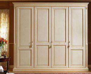 Aries armoire, Armoire laquée de luxe avec 4 portes, panneaux de bois