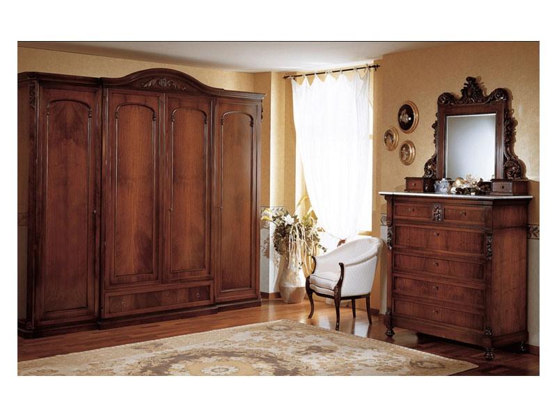 Art. 973 wardrobe closet '800 Siciliano, Armoire de style antique, avec 4 portes, pour chambre