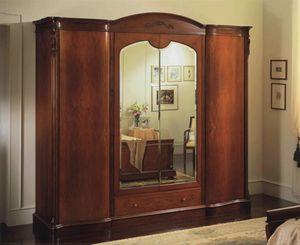 Canova armoire 4 portes avec miroirs, Armoire avec 4 portes, la poitrine interne des tiroirs et miroirs