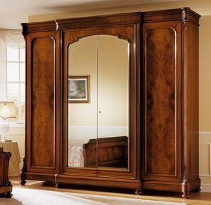 D'Este armoire, Cabinet en bois de noyer, luxe classique, avec miroir